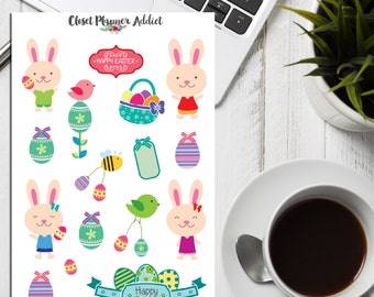 Cute Easter Bunnies Planner Stickers (S-039)