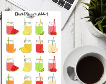 Fruit Juice in Mason Jars Planner Stickers (S-049)