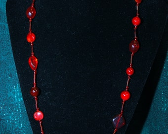Pretty red beaded necklace