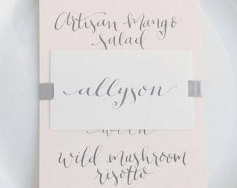Menu Cards – calligraphy menus – bespoke wedding menus – special event