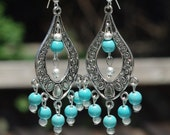 Turquoise Stone Chandelier Earrings ~Turquoise Howlite Stones ~ Healing Stones ~ Statement Earrings ~ Wedding Wear ~ Summer Jewellery