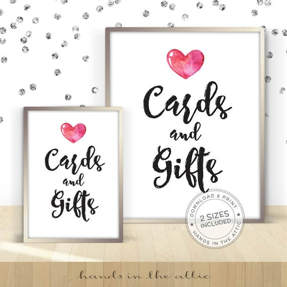 Cards and gifts, bridal shower ideas, wedding shower signs, ready-to ...