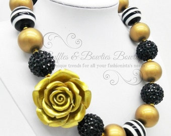 Black & Gold Rose Bubble Gum Kids/Baby Necklace-Baby Necklace-Kids Jewelery-Bubble Gum Jewelery-Gold-Cake Smash-Gold-Photo Shoot