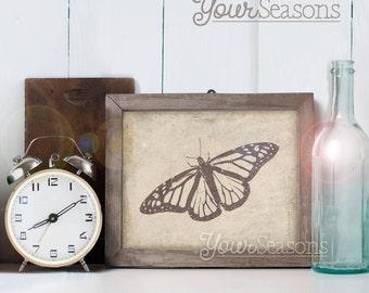 Monarch Butterfly Art - Vintage Wall Decor - 8x10 printable DIGITAL FILE