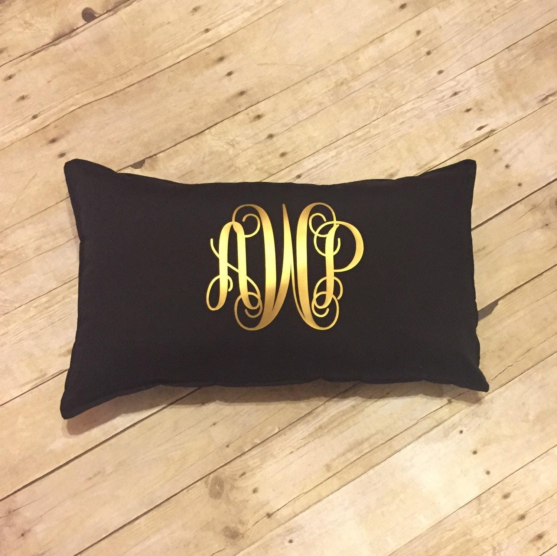 Monogram Pillow Monogrammed Throw Pillow Rectangle Throw