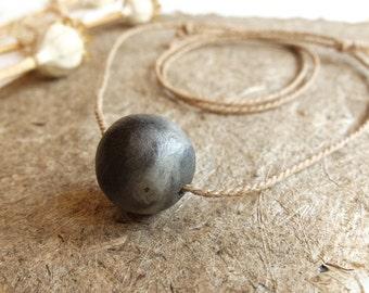 ceramic and hemp necklace, unique pearl, handmade