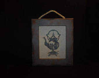 Tea Pot on Stand Printed on Linen & Framed