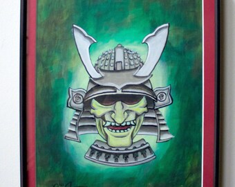 "Samurai mask acrylic painting original 9""X12"""