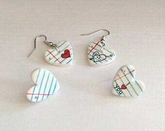 LOVE NOTE Heart Earrings. Valentine Earrings. Clay Valentine Earrings