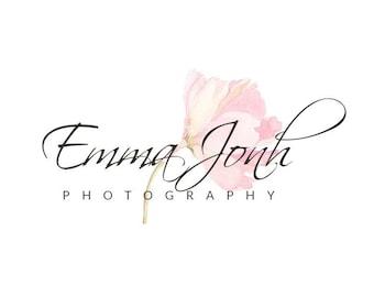 Photography logo - Design Photography Logo - Premade Logo -Watermark Logo - Watercolor logo - Watercolor flower - INSTANT DOWNLOAD