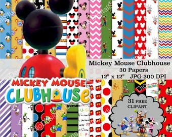 "Mickey Mouse Clubhouse Digital Paper Pack - 30 Papers - 31 Clipart - 12""x12"" - Printable Paper - Digital Scrapbooking - Instant Download -"