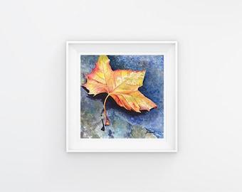 5x5 Leaf Print of Original Little Leaf 1 Fine Art Watercolor Painting, Home Decor, Wall Art, Gift Ideas