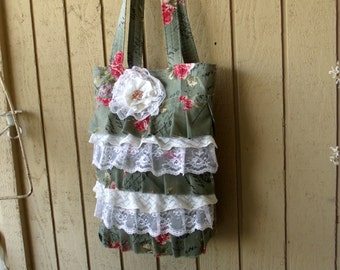 SALE Shabby Floral Shoulder Purse, Tote Bag, Pink Roses Lace, Ruffled Front, Cottage Chic, Romantic Bohemian