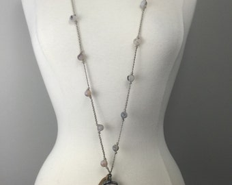 Braided beaded necklace with soldered arrowhead and leather tie