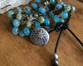 Crochet beaded bracelet / crochet wrap bracelet / black leather bracelet / boho wrap bracelet