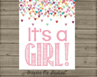 It's a GIRL Gender Reveal Printable / It's a girl Sign / Gender Reveal / Printable Gender Announcement / Its a girl Printable /Gender Reveal