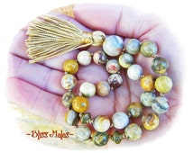 Mini Pocket Mala, 27 Bead Mala, Prayer Beads, Wrist Mala, Crazy Lace Agate, Earthy, Gold, Balance, Awareness, Deepen Meditation, Laughter