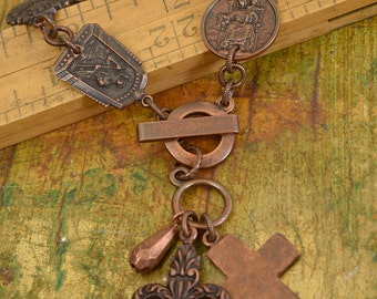Copper Medallion Bracelet, Charm Bracelet, Fleur Charm, Cross Charm, Catholic Medallion Charms Bracelet, Copper Charms, Becky Nunn Design.