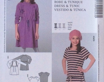 Burda Kids pattern, girls dress and tunic, short sleeve and long sleeve dress and tunic, KNITS only,  size 7, 8, 9 10, 12, 13jun.