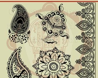 Mehndi, Paisley, Indian Symbols, Mandala SVG, Border,  Clipart, Vector, Cutting file, Pattern,Cameo Silhouette, png, svg,ai,eps, dxf