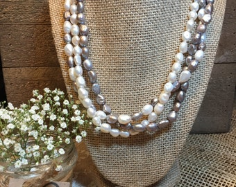 White and gray freshwater pearl multi-strand necklace