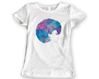 Blue Afro Watercolour T-shirt. Ladies Watercolor Purple Graphic Tee. 100% Cotton White Tshirt Womens Top. AfroPunk Art S,M,L,XL,XXL Boho