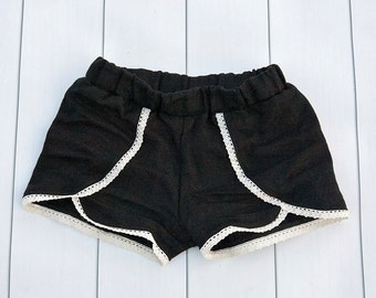Girl's Coachella shorts,  girl's shorts, black linen shorts,  Ivory lace trimmed black shorts,  mommy and me set,  summer shorts, baby short