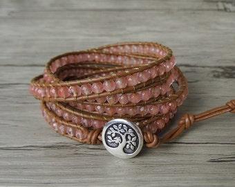 Crystal wrap bracelet Gemstone bracelet Watermelon crystal bead bracelet yoga leather bracelet boho wrap bracelet woman bracelet SL-0264
