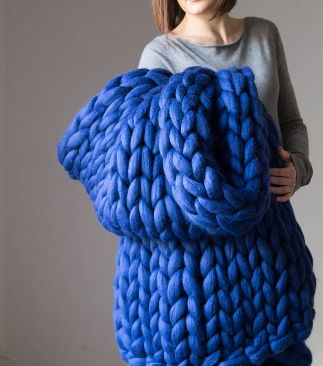 Knitting Wool Blanket : Chunky knit blanket knitted merino wool