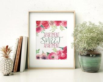 Apartment Sweet Apartment // Girly // Home Decor // Apartment Decor // Watercolor // Colorful // Printable // Boho