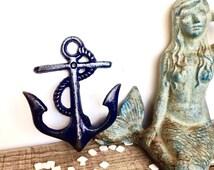 Navy Blue Anchor Hooks - Nautical Decor - Nautical Nursery Decor - Boy Nursery -  Navy Blue Decor - Beach House Decor - Anchor Wall Decor