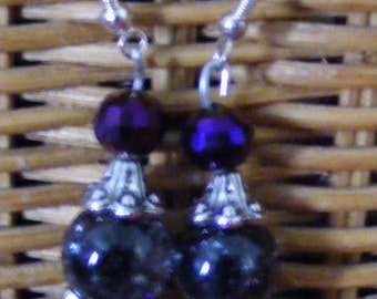 Black marbleized  with blue beads earrings