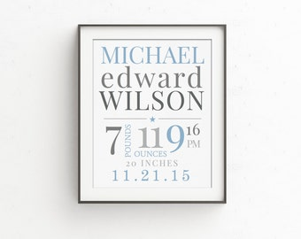 Birth Stats Birth Announcement   Personalized Baby Gifts   Blue and Grey   Nursery Wall Decor   New Baby Boy Gift   Birth Stats Wall Art