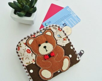 Chubby Bear Mini Wallet, Small Bi-fold Organizer Wallet, Zipper Coin Wallet, Fabric Coin Purse, Small Wallet, Gift for Her - Made to Order