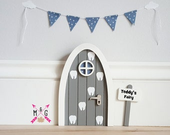 Personalised fairy door - tooth fairy door - grey and blue - miniature bunting- pretend  sc 1 st  Etsy & Tooth fairy door | Etsy pezcame.com