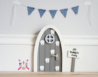 Personalised fairy door - tooth fairy door - grey and blue - miniature bunting- pretend play - boys fairy door