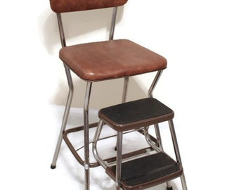 Vintage Step Stool and Chair, Cosco Step Stool, Retro Step Stool, Stepstool, Brown Chair, Brown Step Stool, Vintage Kitchen, Retro Kitchen