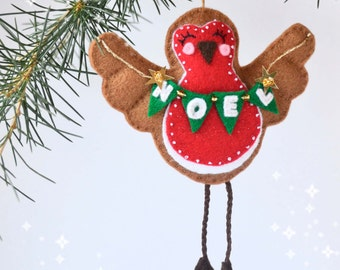 Felt robin, chirstmas gift, tree ornament, christmas robin. Noel,Teachers gift, easy gift,