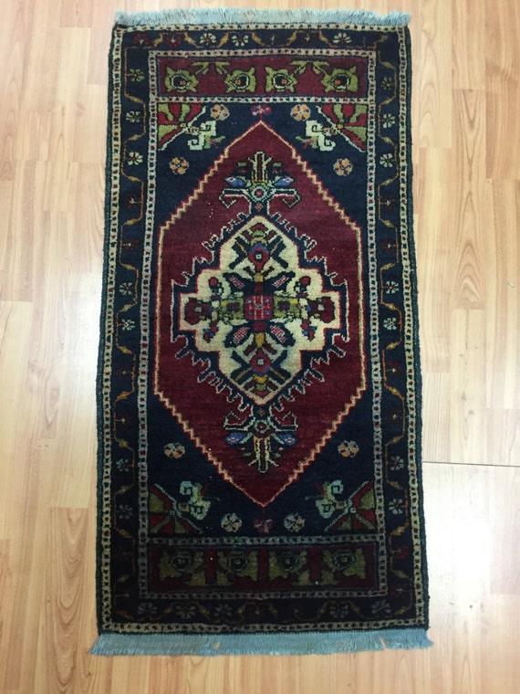 "1'10"" x 3'7"" Turkish Serapi Oriental Rug - 1950s - Hand Made - 100% Wool"