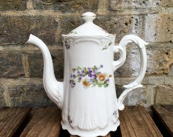 Limoges Porcelain Floral Design Coffee / Tea Pot