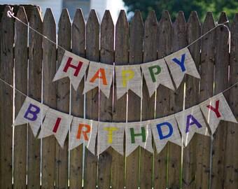 Happy Birthday Banner, Birthday Party Banner, Burlap Banner, Birthday Garland, Birthday Banner, Birthday Sign, Birthday Decor, Party Sign