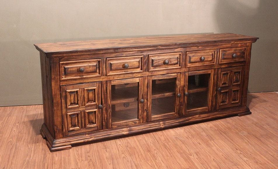 rustic solid reclaimed wood tv stand media console    sideboard