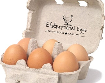 Custom Stamp For Egg Cartons - Chicken Egg Date Stamp - Farmhouse Stamp - Custom Printed Egg Carton Label - Homesteader Chicken Coop Carton