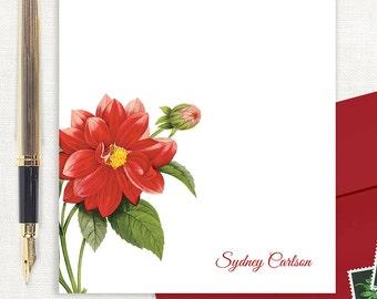 personalized notePAD - RED DAHLIA FLOWER - stationery - custom stationary - botanical - floral