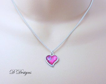 Heart Necklace, Silver Pink Heart Pendent, Silver Charm Necklace, Silver Necklace, Gifts for Her, Trendy Necklace