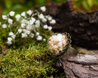 Ring  of gypsophila - Jewel with real dried flowers - Ring vintage botanical - 20mm - Hand hemisphere glass