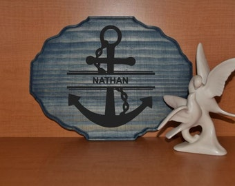 Anchor with Custom Name 9x12 Personalized Kids Room Sign, Baby's Room. Nautical Theme Decor - Nursery. Hand Painted - Custom Made = Options!