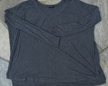 loose grey long sleeve top one size fits large