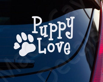 Puppy Love Decal Car Window Laptop Dogs Pets