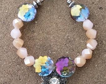 Pink & Pewter Flower Bracelet